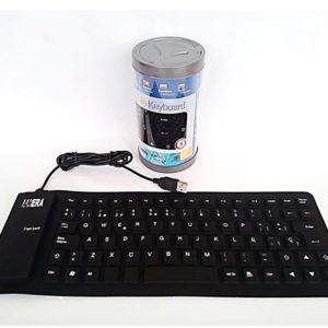 Teclado Flexible Silicone Usb Negro Pequeño 35 X 13.5 Centímetros