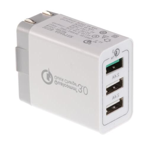 Adaptador 1 Puerto Usb3.0 2 Puertos 2.4A Qualcomm Quick Charge 3.0 Blanco