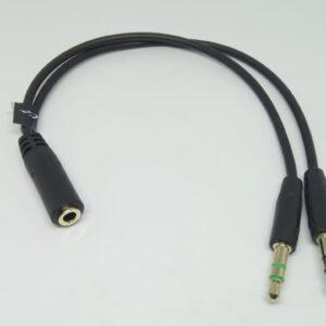 Cable en Y tripolar hembra a divisor 2 machos estéreo micrófono y audífono