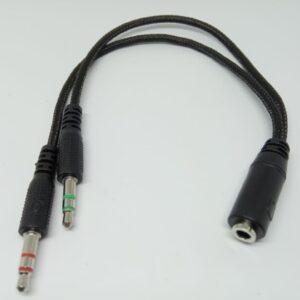 Cable Splitter de audio en Y para PC 1 3.5 mm Jack hembra a 2 3.5 mm macho Audifono y Microfono